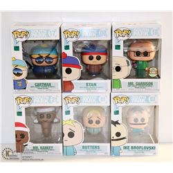 LOT OF 6 ASSORTED FUNKO POPS;  SOUTH PARK  PACK