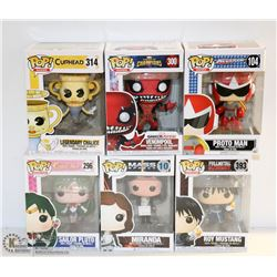 LOT OF 6 ASSORTED FUNKO POPS;  VARIETY  PACK