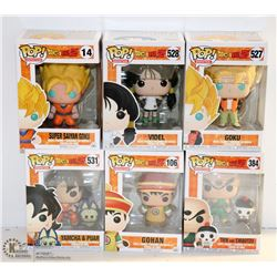 LOT OF 6 ASSORTED FUNKO POPS;  DRAGON BALL Z