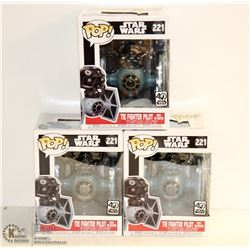 3PK OF STAR WARS FUNKO POPS; THE FIGHTER PILOT