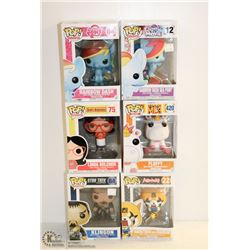 6PK OF ASSORTED FUNKO POPS;  VARIETY PACK