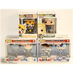 4PK OF ASSORTED FUNKO POPS;  VARIETY PACK