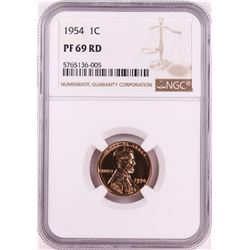 1954 Proof Lincoln Wheat Cent Coin NGC PF69RD