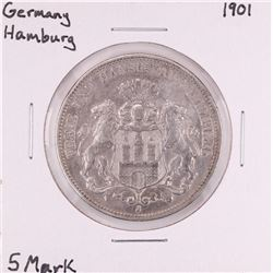 1901 Germany Hamburg 5 Mark Silver Coin