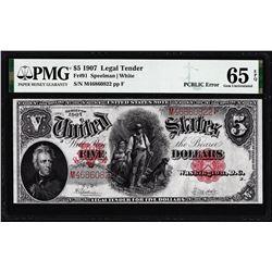 1907 $5 Woodchopper Legal Tender Note Fr.91 PMG Gem Uncirculated 65EPQ