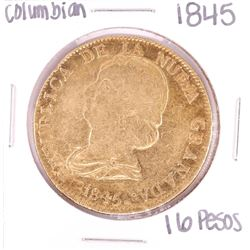 1845 Colombia 16 Pesos Gold Coin