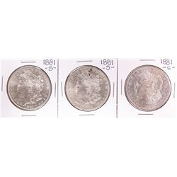 Lot of (3) 1881-S $1 Morgan Silver Dollar Coins