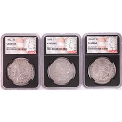 Lot of 1882, 1883, & 1884-O $1 Morgan Silver Dollar Coins NGC Genuine