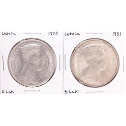 Lot of 1929 & 1931 Latvia 5 Lati Silver Coins