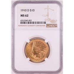 1910-D $10 Indian Head Half Eagle Gold Coin NGC MS62