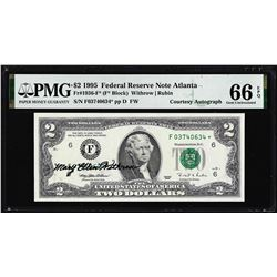 1995 $2 Federal Reserve Star Note PMG Gem Uncirculated 66EPQ Courtesy Autograph