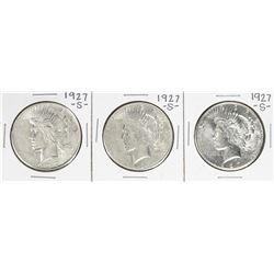 Lot of (3) 1927-S $1 Peace Silver Dollar Coins