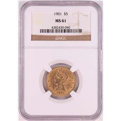 1901 $5 Liberty Head Half Eagle Coin NGC MS61