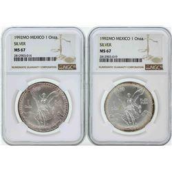 Set of (2) 1992MO Mexico 1 Onza Silver Libertad Coins NGC MS67
