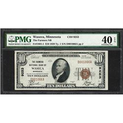 1929 $10 NB of Waseca, MN National Currency Note CH# 9253 PMG Extremely Fine 40EPQ