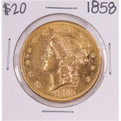 1858 Type 1 $20 Liberty Head Double Eagle Gold Coin