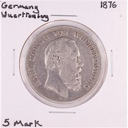 1876 Germany Wuerttemberg 5 Mark Silver Coin