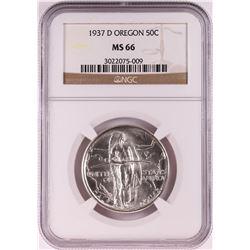 1937-D Oregon Trail Memorial Commemorative Half Dollar Coin NGC MS66