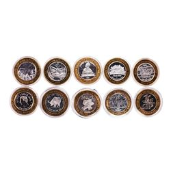 Mixed Lot of (10) .999 Silver Casino $10 Limited Edition Gaming Tokens