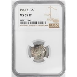 1946-S Roosevelt Dime Coin NGC MS65FT
