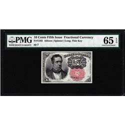 1874 10 Cent Fifth Issue Fractional Currency Note Fr.1265 PMG Gem Uncirculated 65EPQ