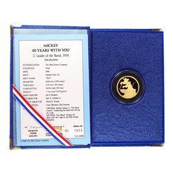 "1988 Rarities Mint Disney Mickey ""Leader of the Band"" 1 oz. Gold Round w/Box & COA"