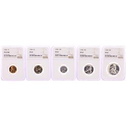 1958 (5) Coin Proof Set Graded NGC PF67