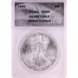 1995 $1 American Silver Eagle Coin ANACS MS69