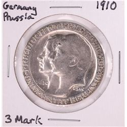 1910 Germany Prussia 3 Mark Silver Coin