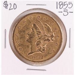 1855-S Type 1 $20 Liberty Head Double Eagle Gold Coin