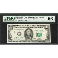 1950E $100 Federal Reserve Note Chicago Fr.2162-G PMG Gem Uncirculated 66EPQ