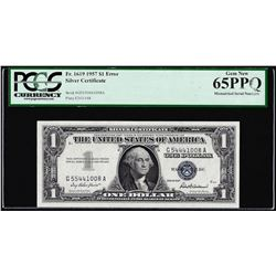 1957 $1 Silver Certificate Note Mismatched Serial Number Error PCGS Gem New 65PPQ