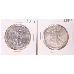 Lot of 2013-2014 $1 American Silver Eagle Coins