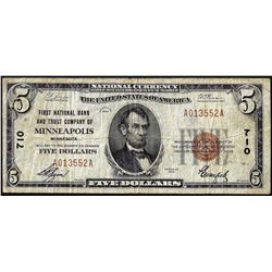 1929 $5 First NB and Trust Company of Minneapolis, MN CH# 710 National Currency Note