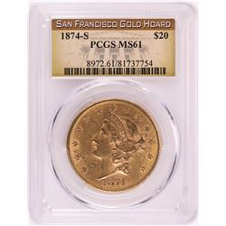 1874-S $20 Liberty Head Double Eagle Gold Coin PCGS MS61 San Francisco Hoard