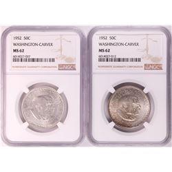 Lot of (2) 1952 Washington-Carver Commemorative Half Dollar Coins NGC MS62