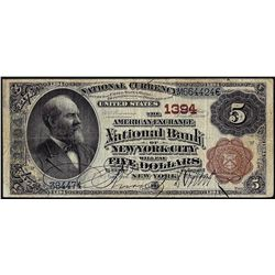 1882 $5 BB American Exchange Bank of New York, NY CH# 1394 National Currency Note
