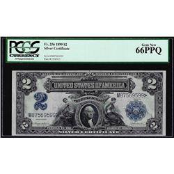 1899 $2 Mini-Porthole Silver Certificate Note Fr.256 PCGS Gem New 66PPQ