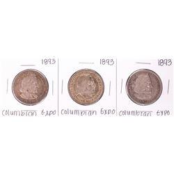 Lot of (3) 1893 Columbian Expo Commemorative Half Dollar Coins