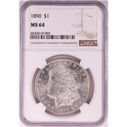 1890 $1 Morgan Silver Dollar Coin NGC MS64