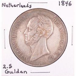 1846 Netherland 2.5 Gulden Silver Coin