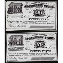 Lot of (2) 1863 Twenty Cents Apothecary Store Mount Pleasant Scrip Notes