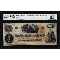 1862 $100 Confederate States of America Note T-41 PMG Choice Uncirculated 63
