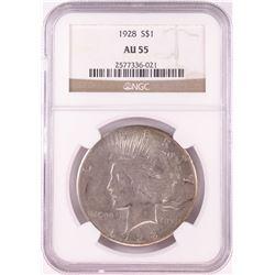 1928 $1 Peace Silver Dollar Coin NGC AU55