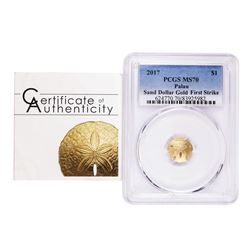 2017 $1 Palau Sand Dollar Gold Coin PCGS MS70 First Day of Issue w/ COA