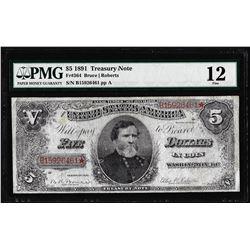 1891 $5 Treasury Note Fr.364 PMG Fine 12