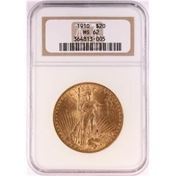 1910 $20 St. Gaudens Double Eagle Gold Coin NGC MS62