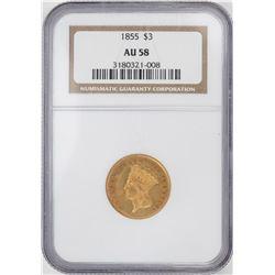 1855 $3 Indian Princess Head Gold Coin NGC AU58