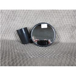 Small Motorcycle Mirror on large Steel Part