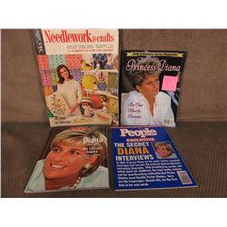 3 Magazines on Princess Diana & Needlework Magazine